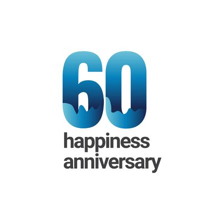 60 Years Happiness Anniversary Vector Template Design Illustration