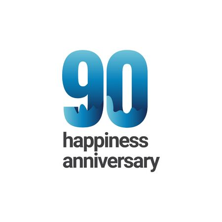 90 Years Happiness Anniversary Vector Template Design Illustration