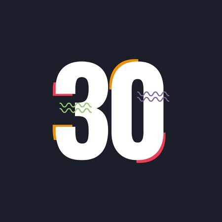 30 Years Anniversary Celebration Vector Template Design Illustration Logo Icon Ilustração