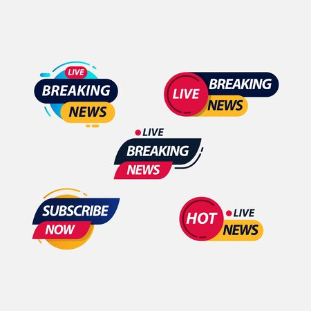 Breaking News Live TV Label Logo Vector Template Design Illustration