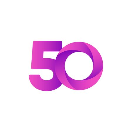 50 Years Anniversary Celebration Purple Vector Template Design Illustration