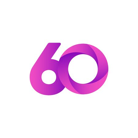 60 Years Anniversary Celebration Purple Vector Template Design Illustration