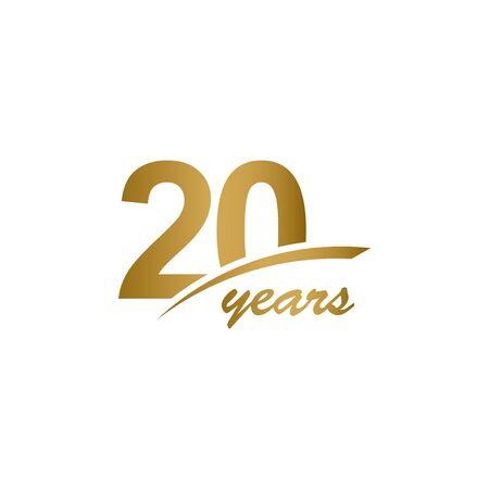 Ilustración de diseño de plantilla de celebración de línea dorada de aniversario de 20 años