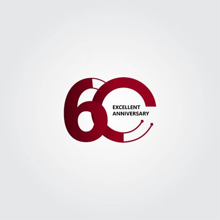 60 Years Excellent Anniversary Vector Template Design Illustration