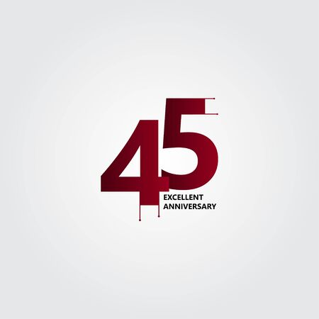 45 Years Excellent Anniversary Vector Template Design Illustration
