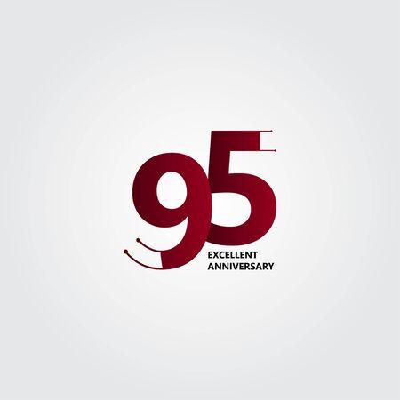 95 Years Excellent Anniversary Vector Template Design Illustration Ilustración de vector