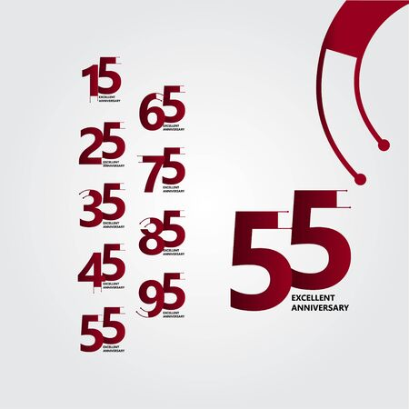 55 Years Excellent Anniversary Vector Template Design Illustration