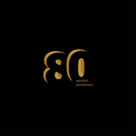 80 Years Excellent Anniversary Vector Template Design Illustration