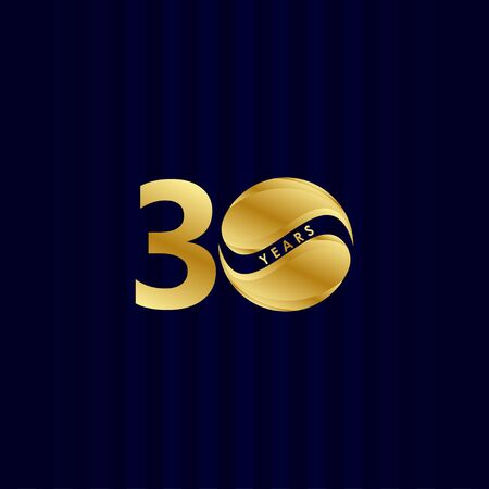 30 Years Anniversary Celebration Candy Gold Vector Template Design Illustration Vettoriali