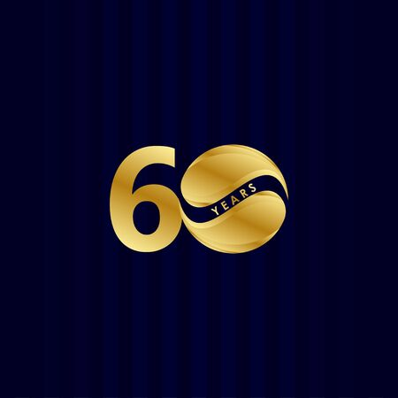 60 Years Anniversary Celebration Candy Gold Vector Template Design Illustration Vektoros illusztráció