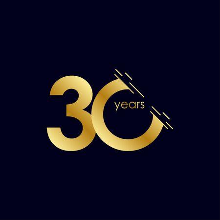 30 Years Anniversary Celebration Gold Vector Template Design Illustration