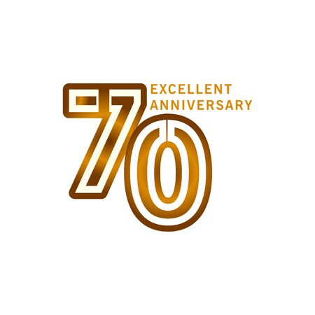 70 Years Excellent Anniversary Vector Template Design illustration Ilustración de vector