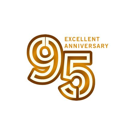 95 Years Excellent Anniversary Vector Template Design illustration Illustration