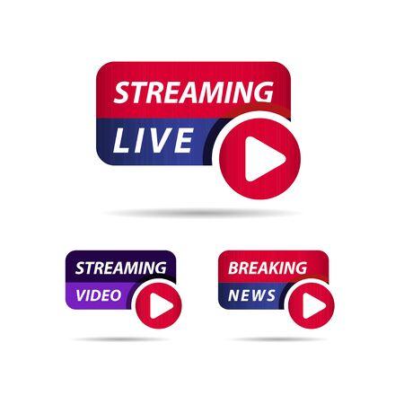 Transmisión en vivo, ilustración de diseño de plantilla de vector de etiqueta de noticias de última hora