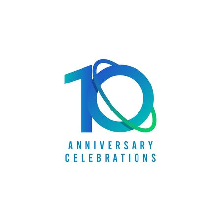 10 Years Anniversary Celebrations Template Design Illustration Vector Illustration