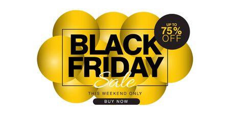 Black Friday Sale up to 75% off Banner Vector Template Design Illustration 矢量图片