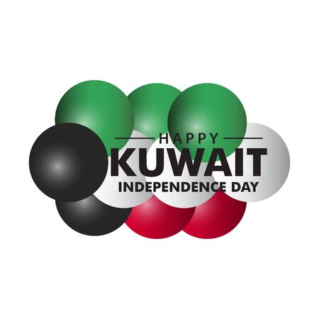 Happy Kuwait Independence Day Vector Template Design Illustration Çizim
