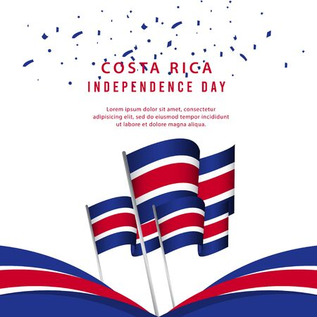Happy Costa Rica Independence Day Poster Vector Template Design Illustration