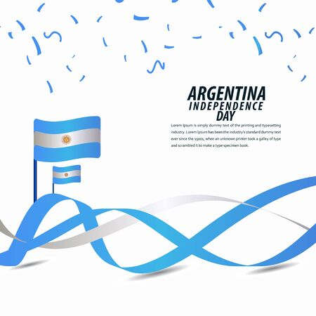 Happy Argentina Independence Day Celebration, Poster, Ribbon banner vector template design illustration Vettoriali