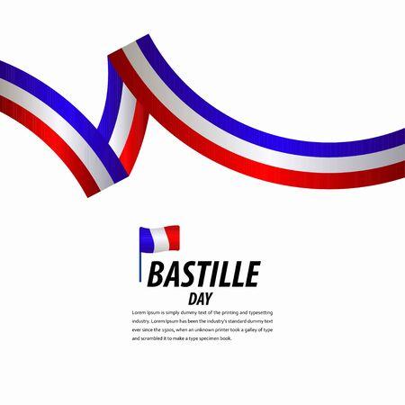 Feliz celebración del día de la Bastilla, cartel, ilustración de diseño de plantilla de vector de banner de cinta