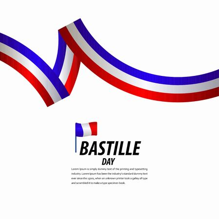 Happy Bastille Day Celebration, Poster, Ribbon banner vector template design illustration