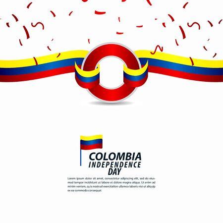 Illustration de conception de modèle de vecteur de célébration de la fête de l'indépendance de la Colombie