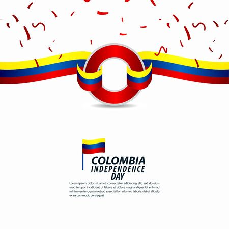 Illustrazione di progettazione del modello di vettore di celebrazione di festa dell'indipendenza della Colombia