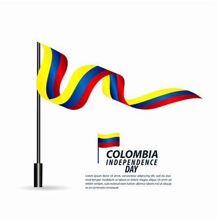 Illustrazione di progettazione del modello di vettore di celebrazione di festa dell'indipendenza della Colombia Vettoriali