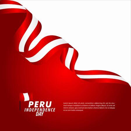 Peru Independence Day Celebration Vector Template Design Illustration