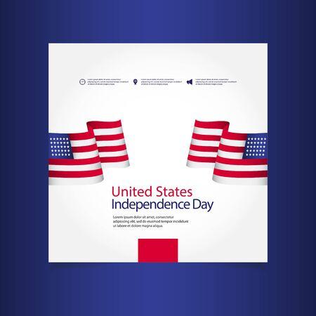 United States Independence Day Celebration Vector Template Design Illustration