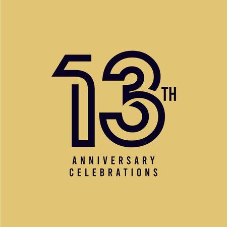 13 Th Anniversary Celebration Vector Template Design Illustration Vektoros illusztráció
