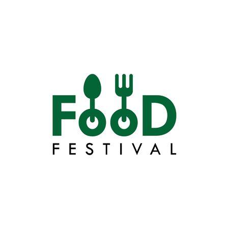 Food Festival Logo Vector Template Design Illustration Foto de archivo - 136812751