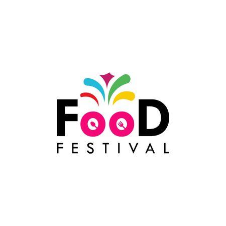 Food Festival Logo Vector Template Design Illustration Foto de archivo - 136812753