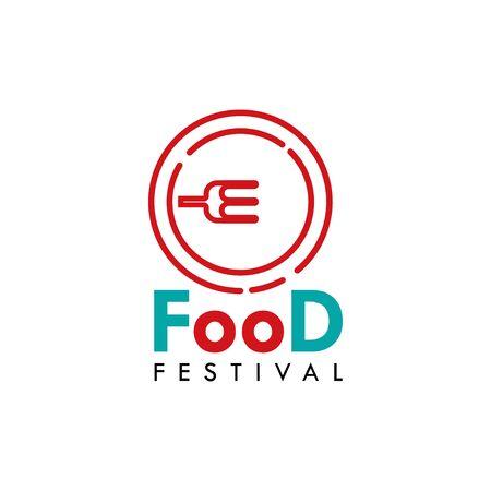 Food Festival Logo Vector Template Design Illustration Foto de archivo - 136812768