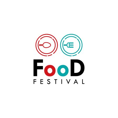 Food Festival Logo Vector Template Design Illustration Foto de archivo - 136812759