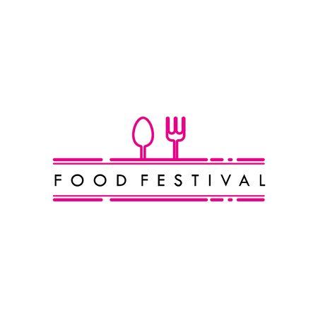 Food Festival Logo Vector Template Design Illustration Foto de archivo - 136812765