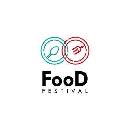 Food Festival Logo Vector Template Design Illustration Foto de archivo - 136816626
