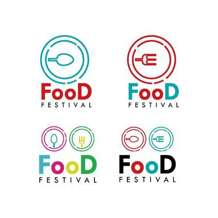 Food Festival Logo Vector Template Design Illustration Foto de archivo - 136816638