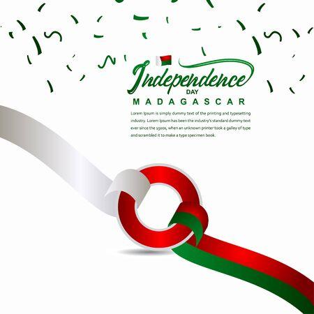 Madagascar Independence Day Celebration Creative Design Illustration Vector Template Ilustração Vetorial