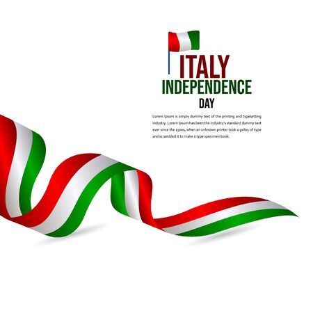 Happy Italy Independence Day Celebration Vector Template Design Illustration 向量圖像