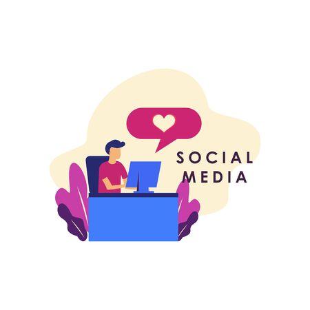 Social Media Concept Illustration For Web Template Design Illustration