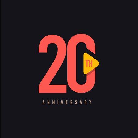 20 Year Anniversary Celebration Vector Template Design Illustration Vektoros illusztráció
