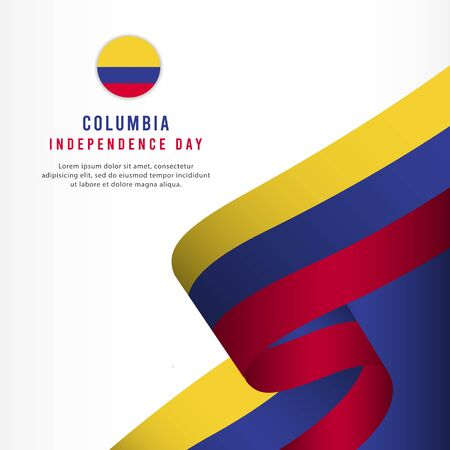 Columbia Independence Day Celebration, banner set Design Vector Template Illustration