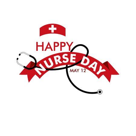 Ilustración de diseño de plantillas vectoriales de feliz día de la enfermera Ilustración de vector