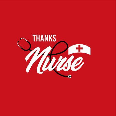 Gracias, enfermera, vector, plantilla, diseño, ilustración