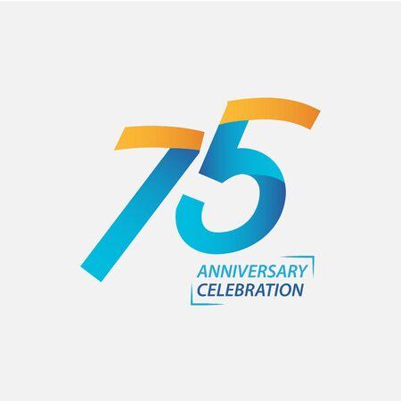 Ilustración de diseño de plantillas vectoriales de celebración de aniversario de 75 años Ilustración de vector