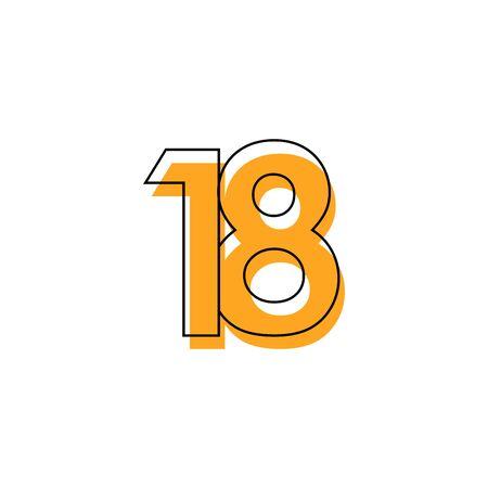 Number 18 Vector Template Design Illustration Design for Anniversary Celebration