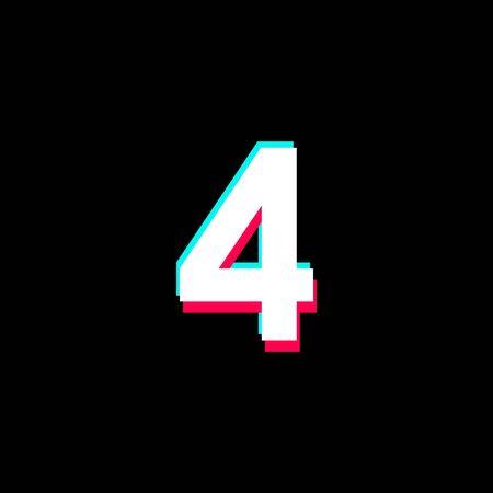 Number 4 Vector Template Design Illustration Design for Anniversary Celebration  イラスト・ベクター素材