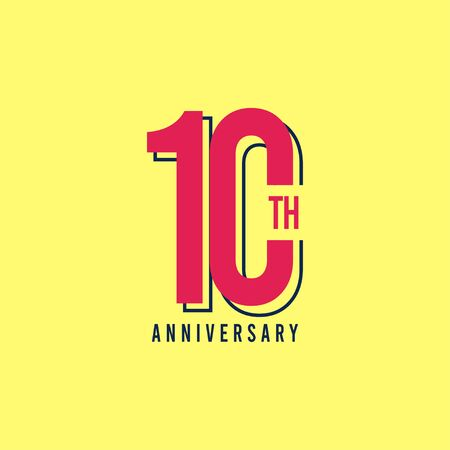 10 Th Anniversary Vector Template Design Illustration Vektoros illusztráció