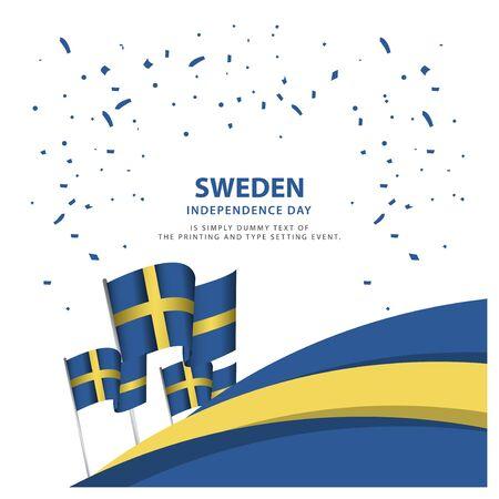 Glückliche Schweden Unabhängigkeitstag Feier Poster Template Design Illustration Vektorgrafik